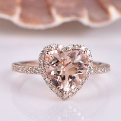 Love is in the details! And this peach pink morganite leaf engagement ring set is a brilliant choice to slip on your beloveds finger. It features a large morganite nestled within a rose gold band with leaf accents. A matching natural diamonds encruste Classic Engagement Rings, Engagement Ring Settings, Diamond Engagement Rings, Heart Shaped Engagement Rings, Heart Shaped Rings, Diamond Bands, Diamond Wedding Bands, Bridal Rings, Bridal Jewelry
