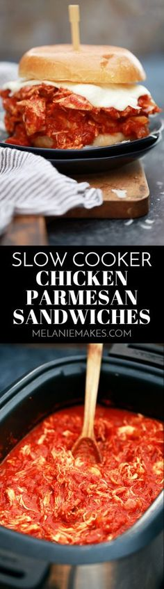 These Slow Cooker Chicken Parmesan Sandwiches take just 10 minutes to prepare and are the definition of true comfort food. A hearty tomato sauce imparts it's amazing flavor to the chicken while ooey, gooey, melty cheese is the perfect finishing touch. Best Slow Cooker, Crock Pot Slow Cooker, Crock Pot Cooking, Slow Cooker Chicken, Slow Cooker Recipes, Crockpot Recipes, Cooking Recipes, Chicken Recipes, Easy Recipes