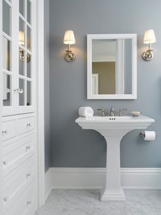 "Home Decor : .loving the wall color! { Paint Color is Benjamin Moore colors Solitude"".} Like the wall color with the white contrast! Bathroom or bedroom? Interior Paint Colors, Interior Design, Stylish Interior, Home Interior, Luxury Interior, Blue Gray Paint Colors, Paint Colours, Blue Gray Walls, Navy Blue"