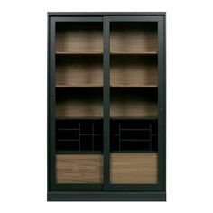 The James display case has a beautiful country look with a tough edge. Made of FSC pine and oak (untreated) wood. It is also painted in a black. The interior of the cabinet is showing its natural color of wood. The space between the sh Small Furniture, Cabinet Furniture, Living Furniture, Rustic Furniture, Home Furniture, Furniture Design, Living Room Storage, Storage Room, Vintage Vitrine