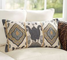 Chiara Ikat Lumbar Pillow Cover #potterybarn - another option for the two chairs - in case you don't love the chevron