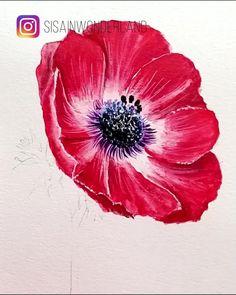 Watercolor Flowers Tutorial, Watercolor Poppies, Watercolor Sunflower, Watercolour Tutorials, Poppies Art, Poppies Painting, Watercolor Beginner, Watercolor Paintings For Beginners, Watercolor Art Lessons