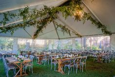Farm tables and cross back chairs for the perfect outdoor wedding.