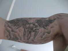 half sleeve tattoos with meaning Tatoo Biceps, Inside Bicep Tattoo, Bicep Tattoo Men, Inner Bicep Tattoo, Forearm Sleeve Tattoos, Tattoo Sleeve Designs, Cloud Tattoo Sleeve, Religious Tattoo Sleeves, Egyptian Tattoo Sleeve