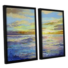 Florida Sunrise by Michael Creese 2 Piece Floater Framed Painting Print on Canvas Set