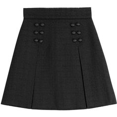 Dolce & Gabbana Wool Skirt ($365) ❤ liked on Polyvore featuring skirts, black, dolce gabbana skirt, woolen skirt, a line button skirt, a line skirt and wool skirt