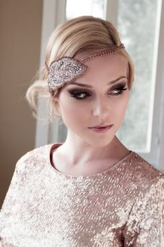 Art Deco Bridal Headpiece with Gold Setting and Pink Rhinestone Headband, Seed Bead Leaf Headdress, Bridal Hair Comb Style: Cleopatra #1409
