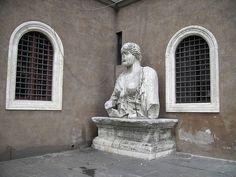 "Madama Lucrezia, one of the ""talking statues"" of Rome, in a corner in Piazza Venezia. Republic Of Venice, 16th Century, Rome, Temple, Sculptures, Italy, San, Statues, Palazzo"