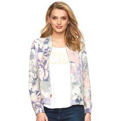 Women's Juicy Couture Floral Bomber Jacket ($48) ❤ liked on Polyvore featuring outerwear, jackets, lt purple, print jacket, floral jacket, zip front jacket, flight jacket and floral bomber jacket