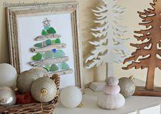 driftwood and sea glass Christmas tree craft