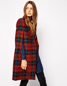 ASOS Coat With Cape Sleeve In Check