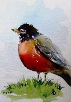 Robin in the grass - beautiful spring ACEO bird painting. $5.00, via Etsy.