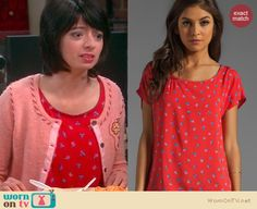 Lucy's red printed top, pink stitch cardigan.  Outfit details: http://wornontv.net/15057/