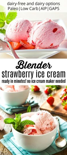 Blender Strawberry Ice Cream {non-dairy and dairy versions Paleo Low Carb AIP GAPS} No ice cream maker needed this is one delicious ice cream! It scoops beautifully and is ready in minutes! - Ice Cream Scoop - Ideas of Ice Cream Scoop Blender Ice Cream, Paleo Ice Cream, Ice Cream Desserts, Ice Cream Maker, Homemade Ice Cream, Frozen Desserts, Ice Cream Recipes, Frozen Treats, Paleo Dessert