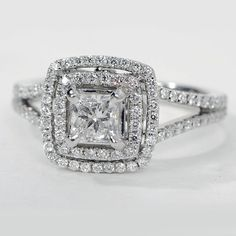 GIA Princess Cut Double Halo Diamond Engagement Ring 1.50 Carat D-E SI1 14K Gold #TheDiamondSpecialist #DoubleHaloSplitShank