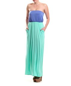 Love this Lavender & Mint Color Block Strapless Maxi Dress by Coveted Clothing on #zulily! #zulilyfinds