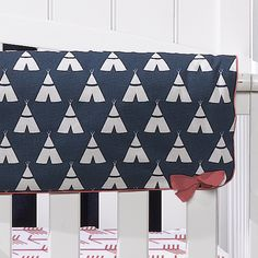 Start your Woodland themed nursery with a navy teepee crib rail cover with pimento (bright coral) piping and ties. This crib rail cover is x and secures through button holes. Themed Nursery, Nursery Themes, Nursery Ideas, Nursery Decor, Navy Crib Skirt, Crib Skirts, Crib Rail Cover, Tribal Nursery, Buttonholes