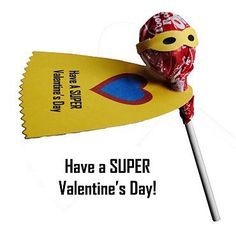 Boys Valentine Super Hero Lollipops - so cute! I am so going to do this for Sawyer to give out!