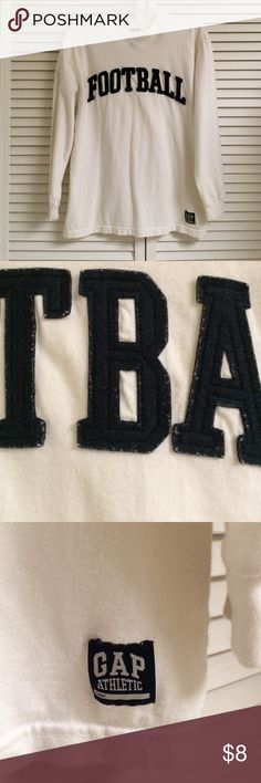 GAP Long Sleeve T-shirt Long sleeve white t-shirt. Navy blue felt stitched lettering on front. Great used condition. No holes or stains. GAP Shirts & Tops Tees - Long Sleeve
