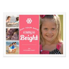Merry Bright Holiday Photo Christmas Collage Pink Card