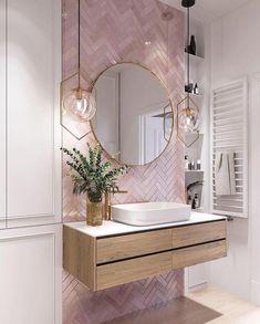 Elegant and luxurious bathroom design ideas for stylish decor -. - Elegant and luxurious bathroom design ideas for stylish decor – - Cheap Home Decor, Bathroom Interior, Bathroom Decor, Pink Bathroom Tiles, Bathroom Interior Design, Home Decor, House Interior, Bathroom Design, Home Deco