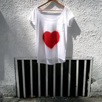 Hand Painted T Shirt Red Love