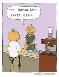 human spice latte please funny halloween halloween pictures halloween images halloween ideas halloween humor halloween jokes Halloween Humor, Halloween Fun, Halloween Pictures, Halloween Cartoons, Archie Comics, Funny Comics, Funny Cartoons, Funny Quotes, Funny Memes