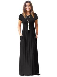 996d82f941 Women s Round Neck Short Sleeve Pockets Maxi Dress Floral Maxi Dress