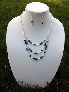 d06060de19f Blue and White Stone Tiered Necklace Set by JsPearlsandPendants. Nancy  Geroy · JEWELRY SETS