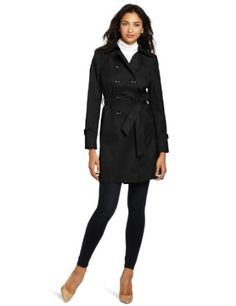 Larry Levine Women's Double-Breasted Belted Rain Trench Coat