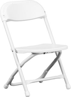 Kids White Plastic Folding Chair, Y KID WH GG By Flash Furniture