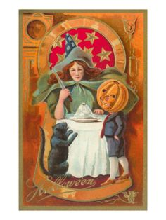 Old Fashioned Halloween, Witch, Cat, Jack O'Lantern