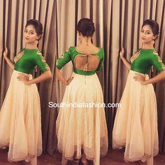 South India Fashion ~ Latest Blouse Designs 2020 - Page 5 Long Anarkali Gown, Long Gown Dress, Lehenga Gown, Saree Dress, Long Frock, Simple Anarkali, Set Saree, White Anarkali, Anarkali Suits
