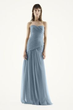 David's Bridal: Strapless Bobbin Net Gown with Sweetheart Neckline. Color - Mist. $228