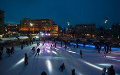 Münich outdoor ice skating rink..