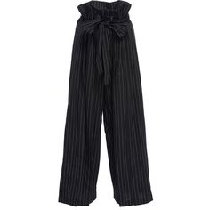 Tome Paperbag Waist Pants (€265) ❤ liked on Polyvore featuring pants, bottoms, tome, stripe, paperbag pants, striped pants, paperbag trousers and striped wide-leg pants