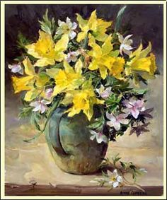 Wild Daffodils and Wood Anemones by Anne Cotterill