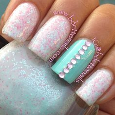 Photo by bdettenails. minty with a touch of glitter!  In love with mint right now!