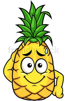 Pineapple Feeling Angry: Royalty-free stock vector illustration of a pineapple cartoon character with an angry facial expression. Easy Disney Drawings, Art Drawings For Kids, Cute Drawings, Animal Drawings, Angry Cartoon, Fruit Cartoon, Vegetable Cartoon, Emoticon Faces, Fun Easy Crafts