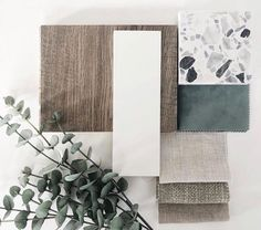 via - a fresh and clean materials board featuring 💫 - Mood Board Interior, Interior Design Boards, Color Inspiration, Interior Inspiration, Interior Design Presentation, Material Board, Colour Schemes, Wabi Sabi, House Colors