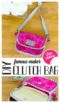 DIY Clutch Bag Pattern {free sewing pattern} — SewCanShe Free diy purse making - Diy Bag and Purse Clutch Bag Pattern, Bag Pattern Free, Bag Patterns To Sew, Sewing Patterns Free, Free Sewing, Pattern Sewing, Backpack Pattern, Diy Purse Making, Diy Trousse