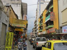 The typical busy street scene in Medellin, Colombia...
