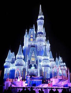 Cinderella's Castle in the Magic Kingdom at Christmas.