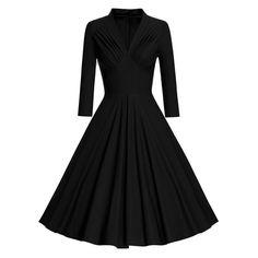 Vintage Long Sleeve Pleated Pinup Dress