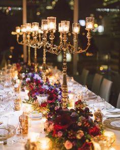 Featured Photographer: Purple Tree Photography; Gold wedding reception centerpiece idea