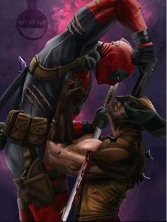 The Comic Ninja - Deadpool vs Wolverine Marvel Wolverine, Wolverine Tattoo, Marvel Comics Superheroes, Marvel Art, Marvel Characters, Marvel Heroes, Marvel Avengers, Deadpool Tattoo, Deadpool Wallpaper