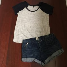 J.Crew linen baseball tee Navy blue baseball sleeves with light heather greyish body. Light weight and ready for the summer. J.Crew Factory Tops Tees - Short Sleeve