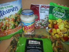 Ingredients for Garden Alfredo Pasta