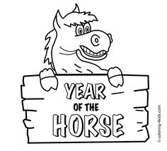 Year Of Horse Coloring Pages For Kids Chinese New Page Printable Free