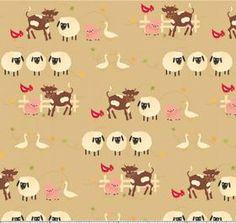 Farm Fresh Brown Animals fabric print.